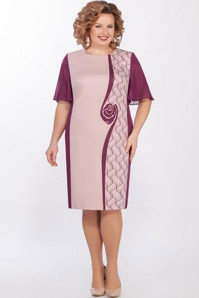 Платье LaKona 1268 сливовый с пудрой