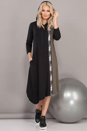 Спортивное платье DilanaVIP 1481/1 черный с хаки