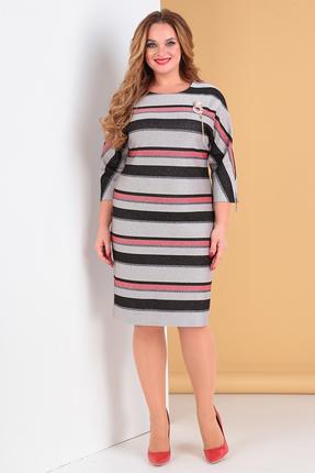 Платье Moda-Versal 2142 серый с красным