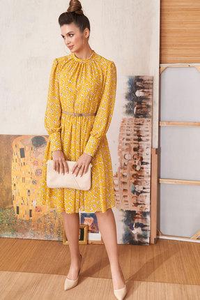 женское повседневные платье люше, желтое