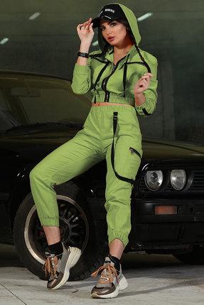 женский брючный костюм doggi, зеленый