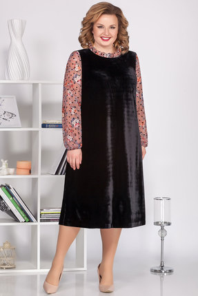 Платье Ivelta plus 1679 черный с розовым