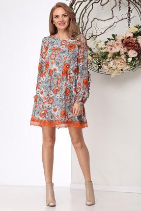 Платье Michel Chic 977 серый с оранжевым