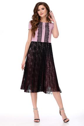 Платье Мишель стиль 843 розовый с черным