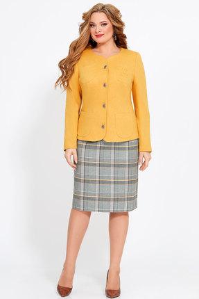 Комплект юбочный Джерси 1755 желтый с серым