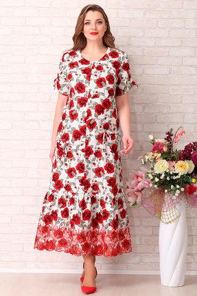 Платье Aira Style 739 красные тона  с  белым