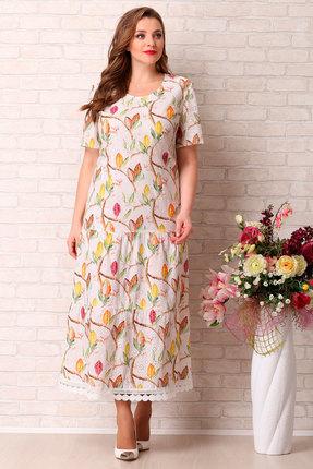 Платье Aira Style 743 молочным с цветным