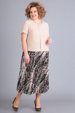 Комплект юбочный Algranda 3485 беж с коричневым