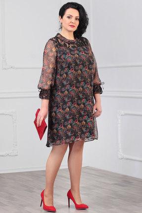 Платье Мадам Рита 1147 черный с цветами