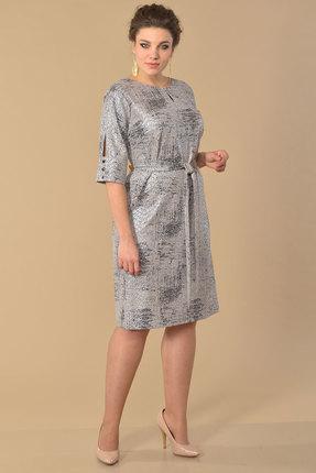 Платье Lady Style Classic 1525 серебро с розовым