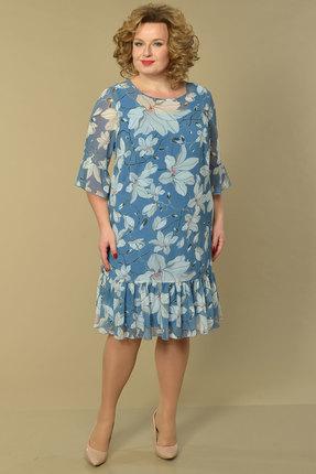 Платье Lady Style Classic 1886 голубой с цветами