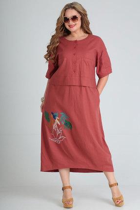 Платье Andrea Style 00254 кирпичный