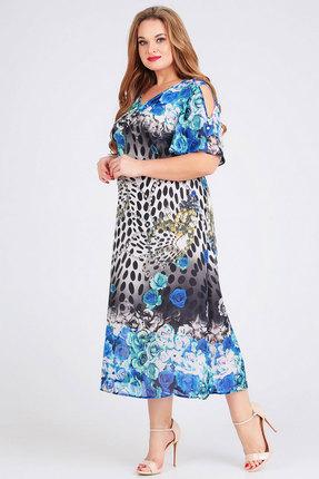 Платье Ксения Стиль 1758 синие тона