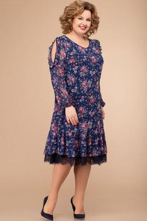 Платье Svetlana Style 1177 темно-синий с цветами