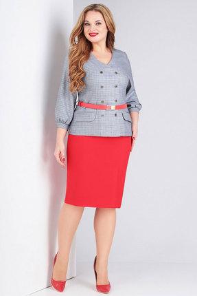 Комплект юбочный Милора-Стиль 776 серый с красным