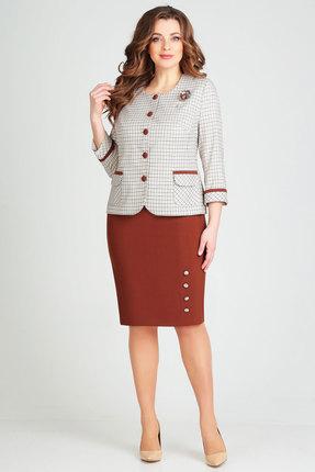 Комплект юбочный Ксения Стиль 1754 серый с коричневым