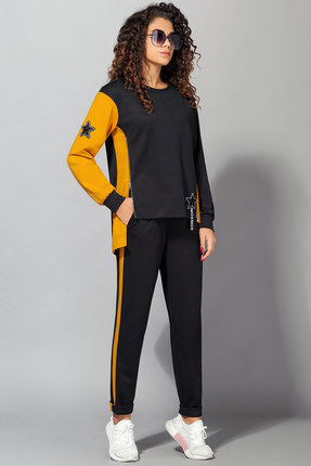 Спортивный костюм Сч@стье 7028 черный с горчицей