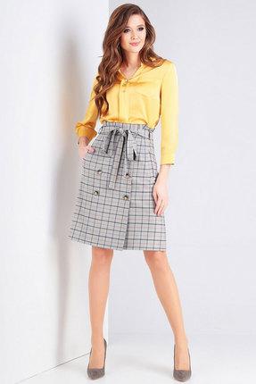 Комплект юбочный Милора-Стиль 738 желтый с серым