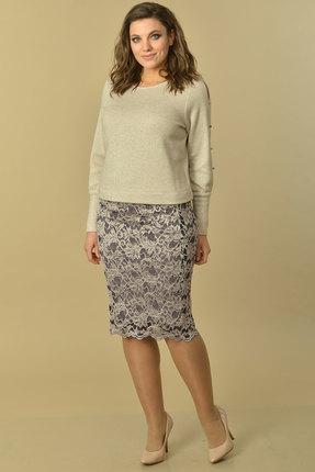 Комплект юбочный Lady Style Classic 2028/1 бежевые тона с серым