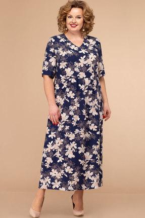 Платье Линия-Л Б-1793 темно-синий с цветами
