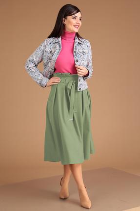 Комплект юбочный Мода-Юрс 2400 светло-зеленый+цветной