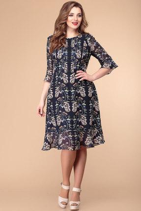 Платье Romanovich style 1-1960 синий с акацией