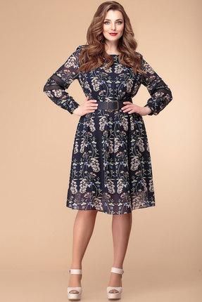 Платье Romanovich style 1-1961 синий с акацией