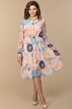 Платье Lady Style Classic 1873 пудровый с цветами