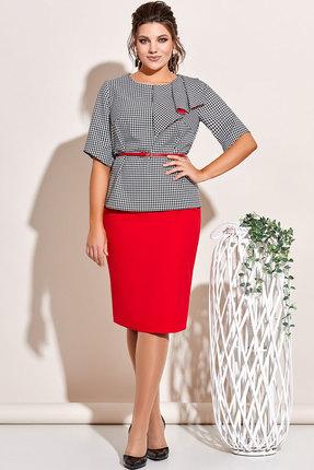 Комплект юбочный Olga Style с649 черно-белый с красным