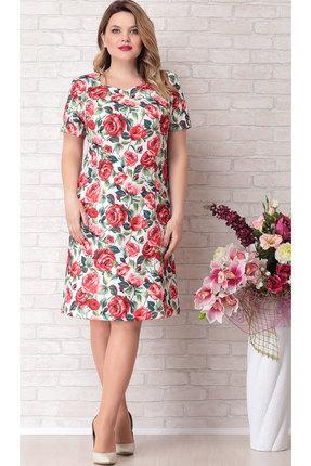 Платье Aira Style 685 молочный с красным thumbnail