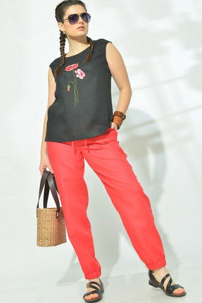 Комплект брючный MALI 719-005 красный+чёрный