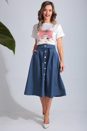 Комплект юбочный SandyNa 13694 темно-синий с белым