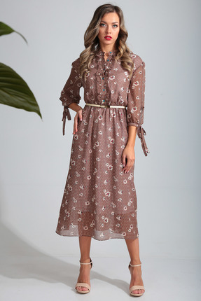 Платье SandyNa 13695 коричневые тона