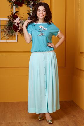 Комплект юбочный Anastasia 402 бирюзовые тона