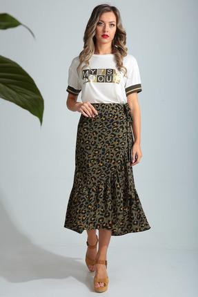 Комплект юбочный SandyNa 13682 белый с хаки