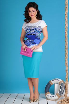 Комплект юбочный Мода-Юрс 2492 бирюзовые тона