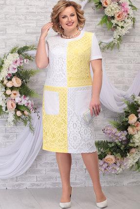 Платье Ninele 5774 белый+нежно-жёлтый