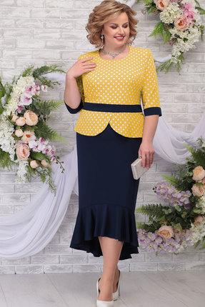 Платье Ninele 7280 тёмно-синий+жёлтый