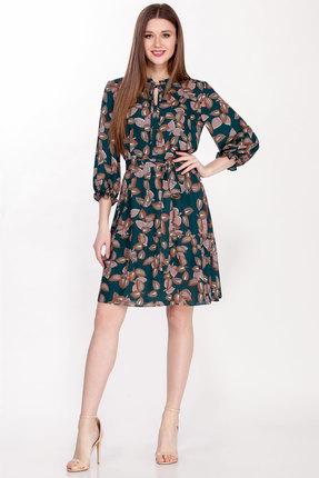 Платье Emilia А-498/2 изумрудный с цветами