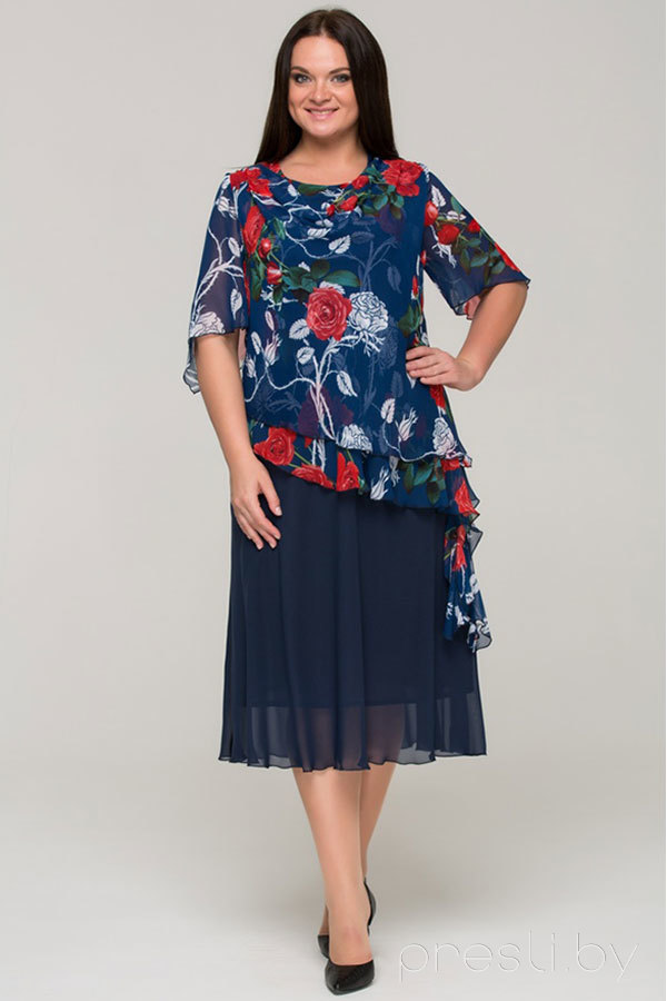 Платье Теллура-Л 1206 тёмно-синий