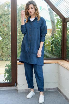 женский брючный костюм фантазия мод, синий