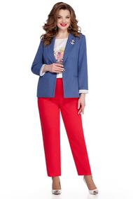 Комплект брючный TEZA 943 красно-синий