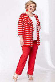 Комплект брючный Elady 3566 красный с белым