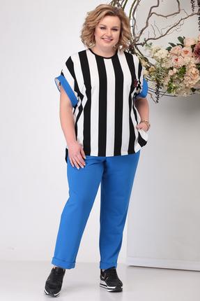 женский брючный костюм michel chic, синий