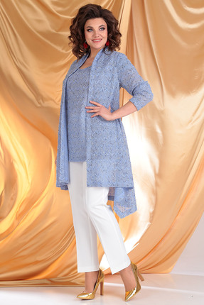 Комплект брючный Мода-Юрс 2357-1 синий+молочный