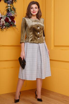 Комплект юбочный Anastasia 410 оливковый с серым