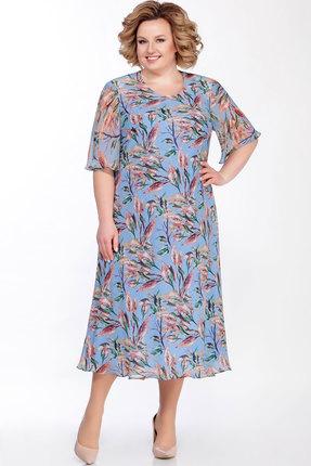 Купить Платье Emilia А-258/1 голубой с цветами цвет голубой с цветами