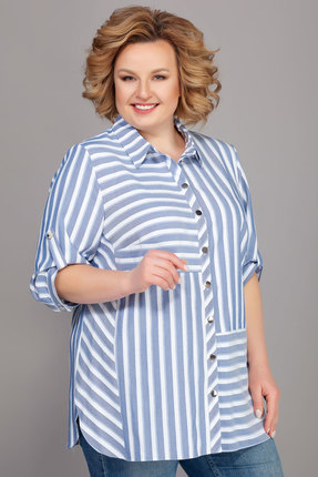 Фото - Рубашку Emilia 416/1 белый с голубым цвет белый с голубым