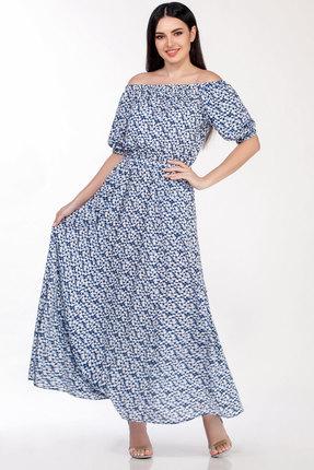 Фото - Платье LaKona 1307 сине-белые цветы цвет сине-белые цветы