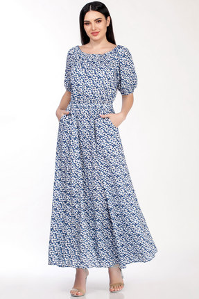 Фото 2 - Платье LaKona 1307 сине-белые цветы цвет сине-белые цветы